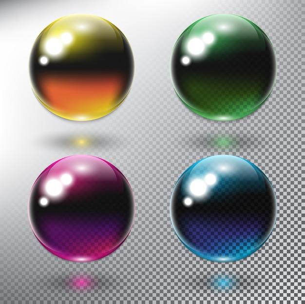 Conjunto de 4 esferas realistas de cor. bolhas coloridas. isolado no fundo branco.