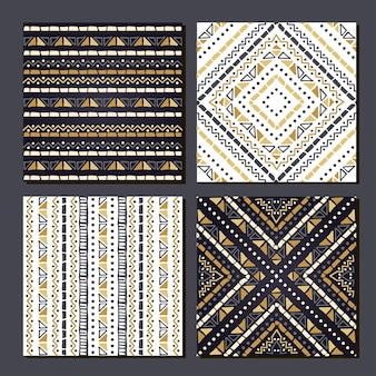 Conjunto de 4 fundos geométricos de padrões étnicos astecas.