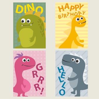 Conjunto de 4 modelos de cartões criativos fofos com dinossauros para aniversário, aniversário, convites de festa, álbum de recortes - vetor