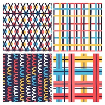 Conjunto de 4 padrão sem emenda criativo com texturas desenhadas à mão