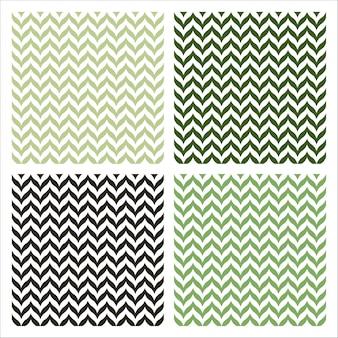 Conjunto de 4 padrões sem emenda com design de chevron verde
