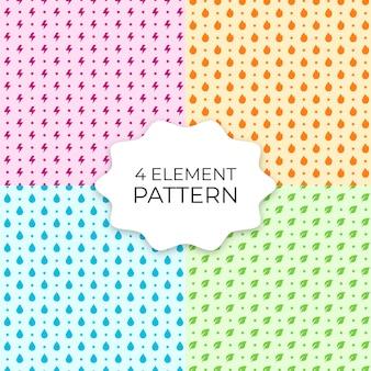 Conjunto de 4 padrões sem emenda de elemento