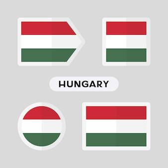 Conjunto de 4 símbolos com a bandeira da hungria