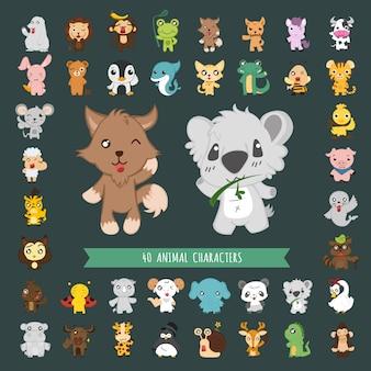 Conjunto de 40 personagens de trajes de animais