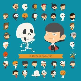 Conjunto de 40 personagens do traje de halloween