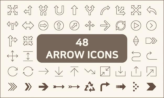 Conjunto de 48 seta estilo de linha de ícones. contém ícones como sinal de direção, setas, sinal, navegação por gps e muito mais.