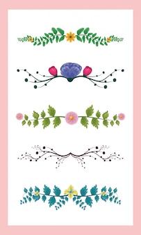 Conjunto de 5 folhas cores de folhagem