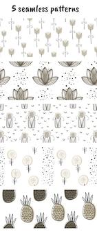 Conjunto de 5 padrões de vetores com flores e plantas.