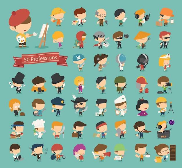 Conjunto de 50 profissões