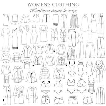 Conjunto de 55 elementos desenhados à mão, de roupas femininas para design. ilustração em vetor em preto e branco
