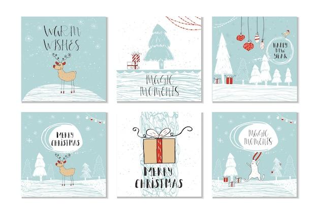 Conjunto de 6 bonitos cartões-presente de natal com citação de feliz natal