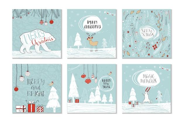 Conjunto de 6 cartões-presente de natal fofos com citação feliz natal, alegre e brilhante