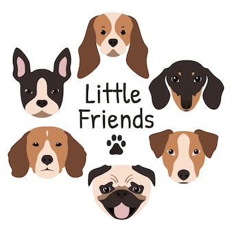 Conjunto de 6 ícones de cachorro.