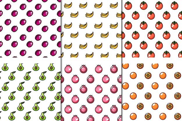 Conjunto de 6 padrões de frutas suculentas sem emenda