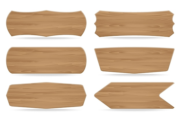 Conjunto de 6 placas de sinal de madeira de formas