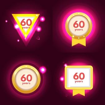 Conjunto de 60 ícones de aniversário