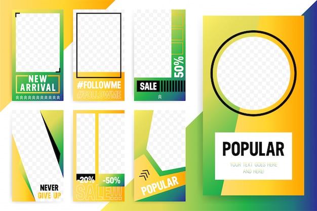 Conjunto de 7 modelo brilhante para histórias e fluxos. cor de estilo moderno esporte.