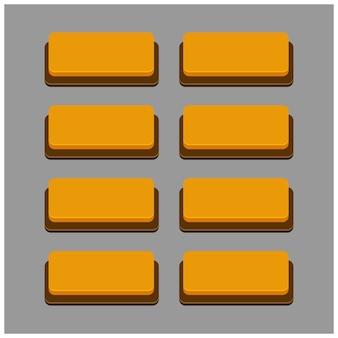 Conjunto de 8 botões de cor laranja em fundo cinza