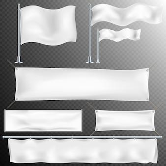Conjunto de 8 branco têxtil banner e sinalizadores.