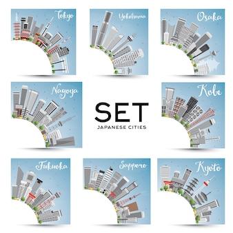Conjunto de 8 cidades japonesas com edifícios cinzentos e céu azul. ilustração vetorial. viagem de negócios e conceito de turismo com arquitetura histórica.
