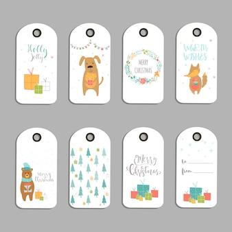 Conjunto de 8 etiquetas de presente de natal bonito, cartões com letras de feliz natal, animais, predefinições, árvore e flocos de neve. modelo editável fácil. ilustração perfeita para cartão postal, cartaz, crachá, banner.