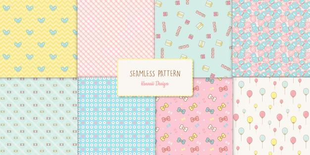 Conjunto de 8 padrões sem emenda de aniversário kawaii bonito