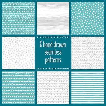 Conjunto de 8 padrões sem emenda de mão desenhada vector
