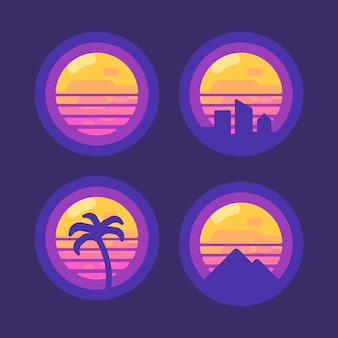 Conjunto de 80 ícones de música retro synthwave plana