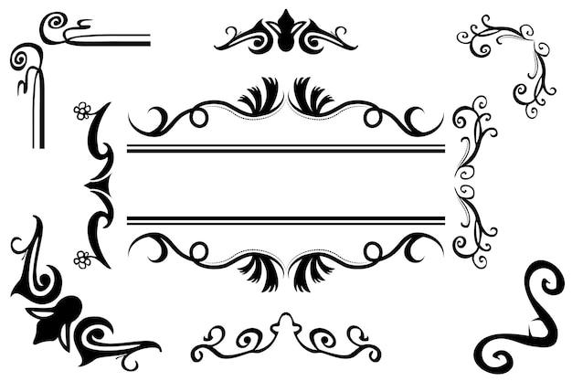 Conjunto de 9 borda floral clássica preta de vetor, elemento de design para seu título, convite de casamento, folheto e outros, isolado no branco