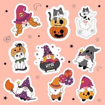 Conjunto de 9 gnomos fofos de halloween e um gato na coleção de adesivos de desenhos animados de festa à fantasia.
