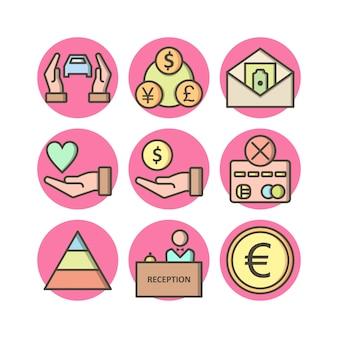 Conjunto de 9 ícones bancários em elementos isolados de vetor branco