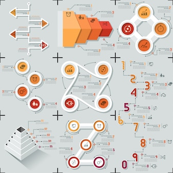 Conjunto de 9 modelos de infográfico mínimo apartamento