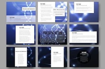 Conjunto de 9 modelos para slides de apresentação. Estrutura da molécula de DNA em fundo escuro.