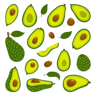 Conjunto de abacates. abacate inteiro e fatias cortadas isoladas