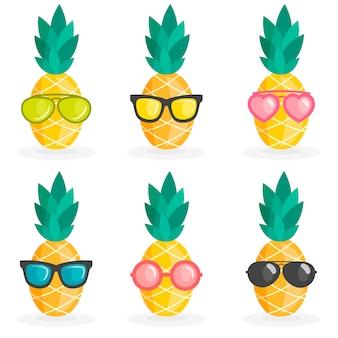 Conjunto de abacaxi com óculos de sol
