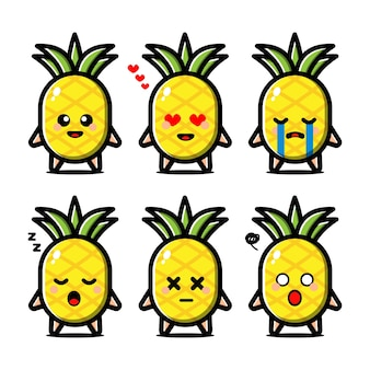 Conjunto de abacaxi fofo com personagem de desenho animado de expressão