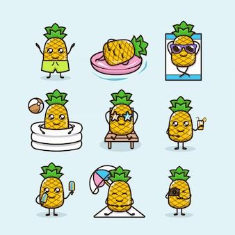 Conjunto de abacaxi fofo férias de verão