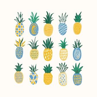 Conjunto de abacaxis estilizados de várias textura isolado