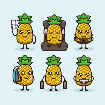 Conjunto de abacaxis fofos viajando