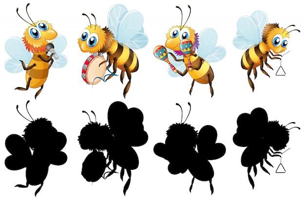 Conjunto de abelha com instrumento musical