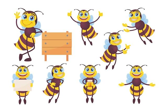 Conjunto de abelha feliz