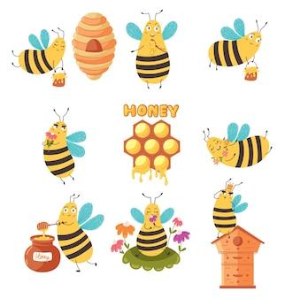 Conjunto de abelha fofa