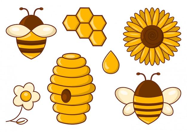 Conjunto de abelha. querida. ilustração