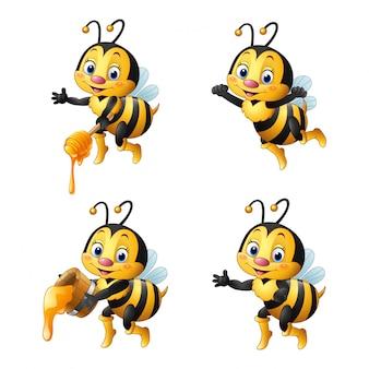 Conjunto de abelhas dos desenhos animados
