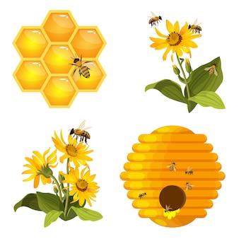 Conjunto de abelhas no favo de mel, ninho de colmeia, abelhas no campo de flores amarelas
