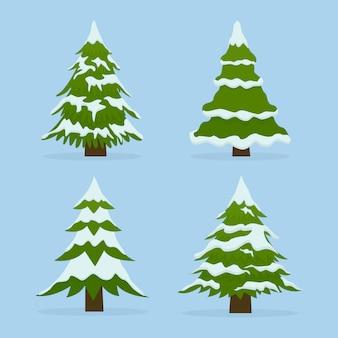 Conjunto de abetos na neve. coleção lindas árvores de natal.