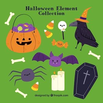 Conjunto de abóbora com doces e outros elementos de halloween