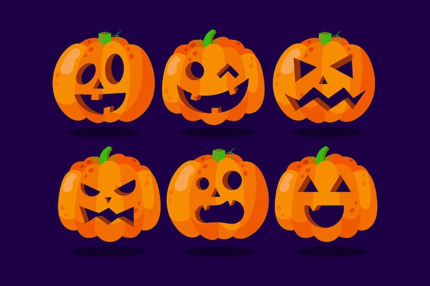 Conjunto de abóbora de halloween com desenho desenhado à mão