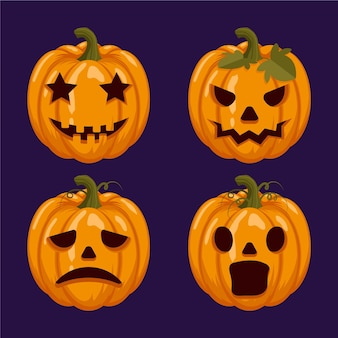 Conjunto de abóbora de halloween de design plano