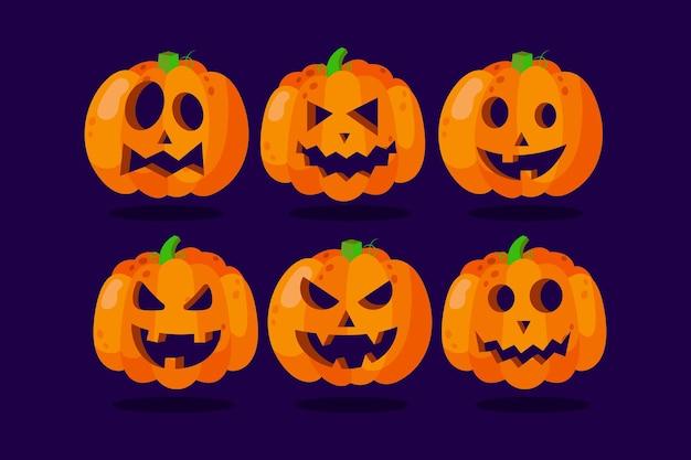 Conjunto de abóbora de halloween desenhado à mão